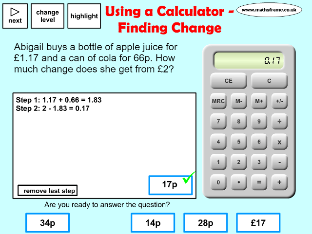 Worksheet Math Operations Calculator: using a calculator finding change mathsframe,
