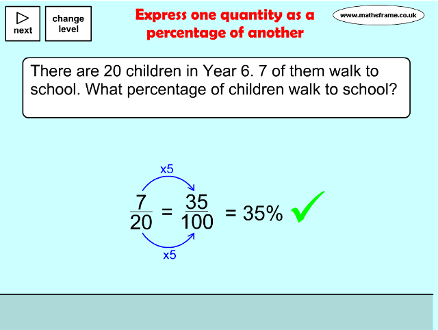 Express One Quantity As A Percentage Of Another Find