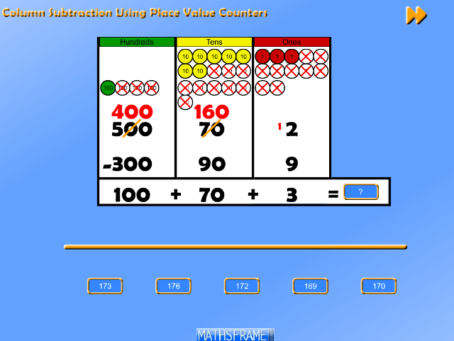 Column Subtraction Using Place Value Counters - Tablet Version - Mathsframe