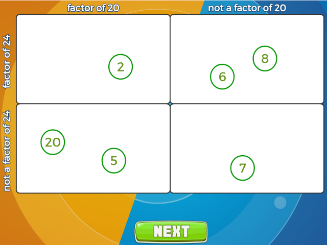 Finding factors carroll diagram mathsframe ccuart Image collections