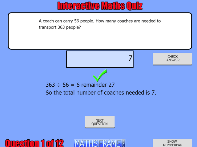 Divide Numbers Up To 4 Digits By A Two Digit Whole Number Using The